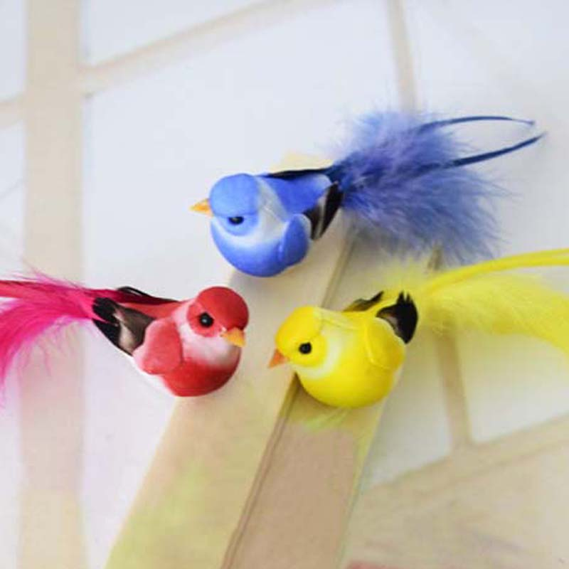 12 3cm 12pcs fake colorful bird artificial foam simulation for Artificial birds for decoration