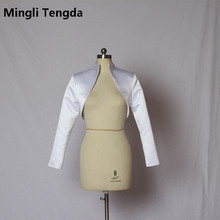 Новая популярная Свадебная атласная куртка на заказ, модная свадебная накидка с воротником и длинными рукавами, болеро mingli Tengda, Женская куртка