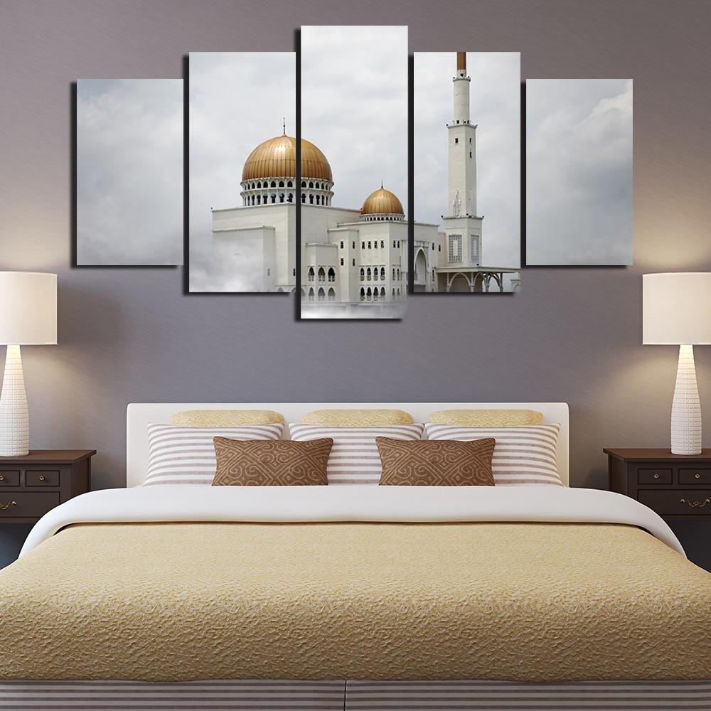 Leinwand Malerei Wohnzimmer 5 Panel Islam Wand Plakatrahmen Im ...