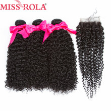 Frøken Rola Hair Brazilian 100% Human Hair Kinky Curly 3 Bundler Med Closure Non Remy Hair Extensions Natural Color