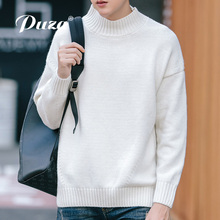 PUZA new autumn winter fashion men sweater casual thicken fleece male pullover top sweater mens crewneck slim fit men clothing