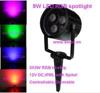 Frete grátis por DHL  12 pçs/set  9 de alta potência w LEVOU RGB holofotes com spike  RGB LEVOU Pico spotl  DS 07 1 9W RGB  12VDC  IP65 Holofotes de LED     -