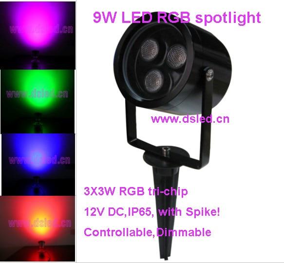 Livraison gratuite par DHL, 12 pièces/ensemble, projecteur RGB 9 W LED haute puissance avec pointe, spot RGB LED, DS-07-1-9W-RGB, 12VDC, IP65