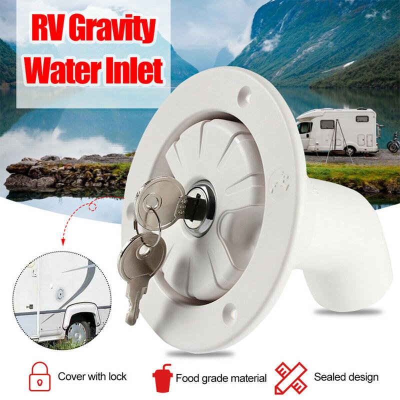 RV Accessories Gravity Fresh Water Fill Hatch Inlet Filter Lockable For RV Boat Camper Trailer White Caravan Accessories