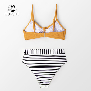 CUPSHE Knotted Yellow Bikini with Striped High-Waist Bottom Women Boho Two Pieces Swimsuits 2020 Girl Beach Bathing Suits