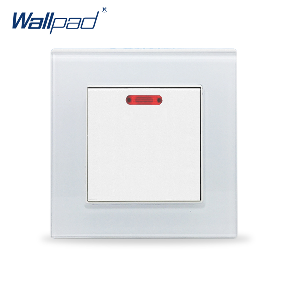 Water Heater Switch Wallpad Luxury Crystal Glass 110V-250V EU UK Standard Wall Led Indicator 20A Water Heater Wall Switch