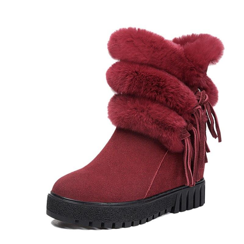 dae8f9e6456d97 Bottes Vache Hiver Chaussures 2019 Cuir Noir Marque Nouveau Élégante En  Femme Plate forme Peau Femmes rouge Zxryxgs Mat Neige Chaudes Mode ...