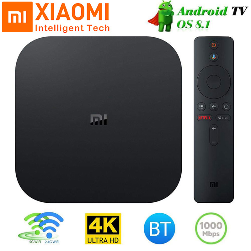 Global Xiao mi Box S 4 K TV Box Cortex-A53 Quad Core 64 bits Mali-450 1000Mbp Android 8.1 TV Box 2 GB + 8 GB 2.4G/5.8G WiFi BT4.2