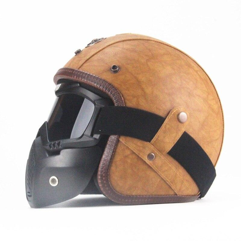 Hot moto casques rétro professionnel lunettes masque Vintage ouvert visage masque Cross casque lunettes
