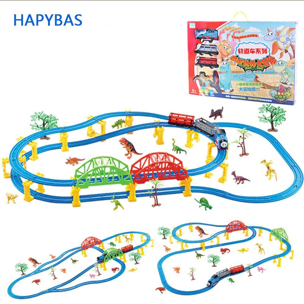 66 pièces repackage grande taille roues Trains dinosaure thème jouet électrique Rail route Trackmaster motorisé Brinquedos
