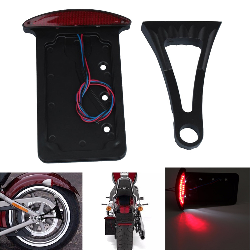 цена на Motorcycle Side Mount Number License Plate Light With Bracket Universal For Harley Softail Bobber Chopper
