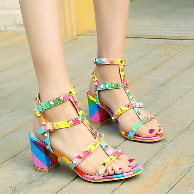 Nice Summer Sandals Female Thick Heel Fashion Women Shoes Sexy Rivet Ankle  Strap High Heels Black+Pink+White+Rainbow Shoes 0c3d85136134