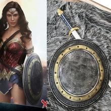 Filme Batman v Superman: Dawn of Wonder Woman da Justiça ShieldHalloween Cosplay Prop Arma Princesa Headwear Braçadeira