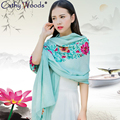 Ethnic Style Women's Scarves Elegantly Hand Embroidered Floral Design Pashmina Shawl Feminino Winter Warm Scarf Cotton Foulard