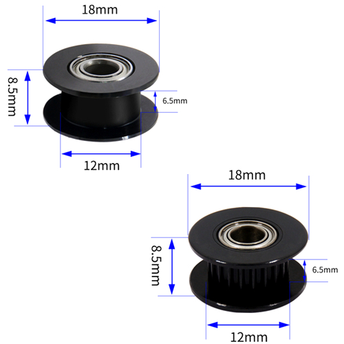 1Pcs Black Aluminum GT2 6mm Width 20 Tooth Teeth Smooth 2GT Timing Idler Pulley Pully Double