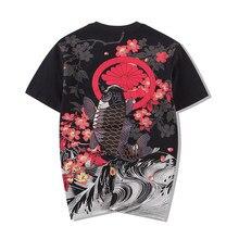 d1fcb3877eec2 Хлопок o-образным вырезом Футболка Стиль вышитые Карп Татуировки японские  мировой живописи свободные Для Мужчин's