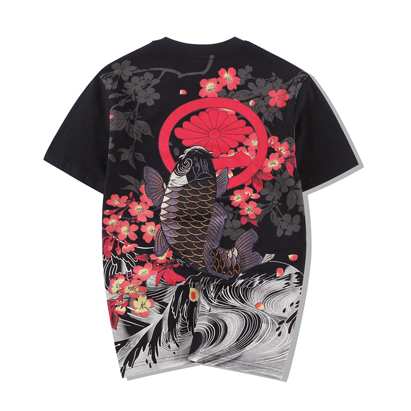 Marvel Cotton O-neck Tshirt Style Embroidered Carp Tattoo Japanese World Painting Loose Short T Shirt Men Sale 2019 New Arrival