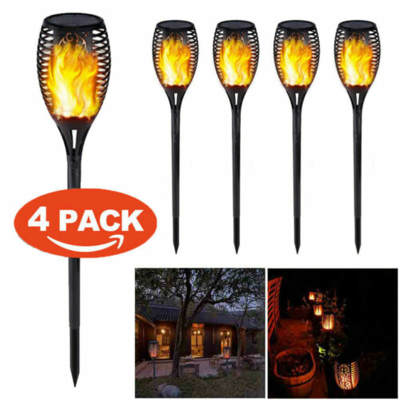 4 Pack Solar 96LEDs LED Flame Lamp Waterproof Lawn Dancing Flicker Torch Lights Outdoor Garden Path Decoration Landscape Lights