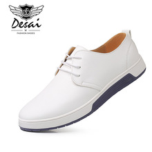 Desai Luxury Brand Men Shoes Casual Leather Fashion Trendy Black Blue Brown Flat for Plus Size 37-49 Drop Shipping