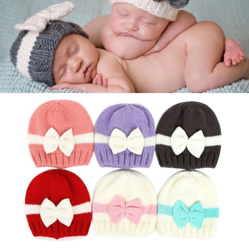 Новорожденных детская одежда для девочек Обувь для мальчиков Прекрасный бантом вязаный крючком Кепки зима теплая шапка Подставки для фото...