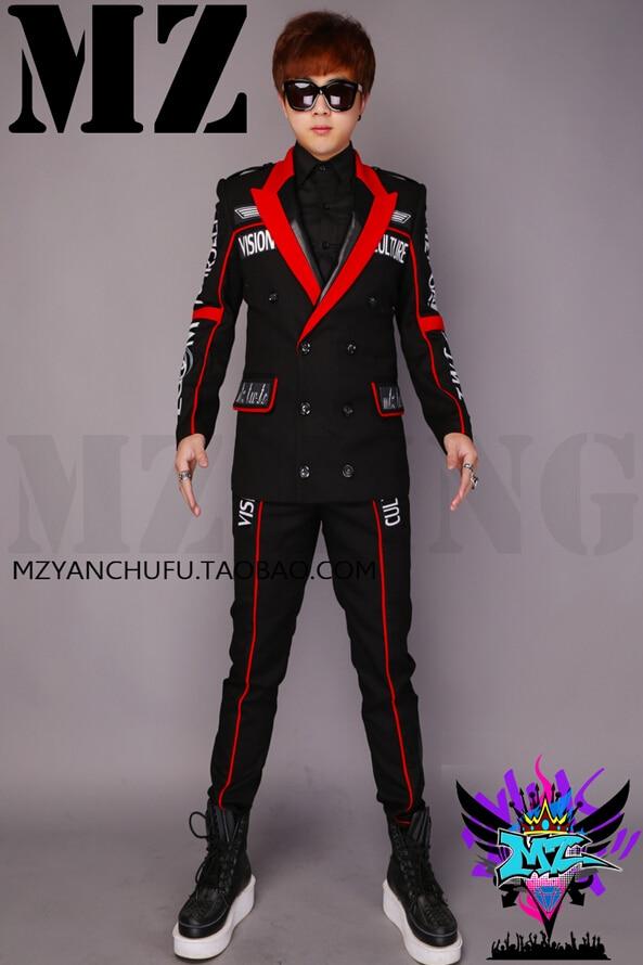 S 5XL High grade Woolen Suit Sets Bigbang Men Singers Stage Wear Suit Jacket Fashion Letter formal dress Costumes