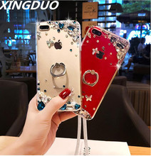 XINGDUO Glitter Transparent Jewelled case for iphone 5 6 6S 7 8 Plus Ring buckle Kickstand Crystal shell X XS MAX XR