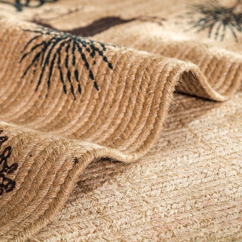 Style nordique tapis de porte en Jute naturel Anti-saut résistant à la saleté cuisine balcon tapis de sol Hallyway bienvenue tapis de sol 50*80 cm - 5