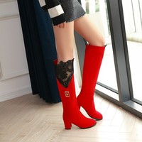 new woman boots large size 34 43 autumn knee high boots thin high heels Lace Metal decoration shoes sexy party boot