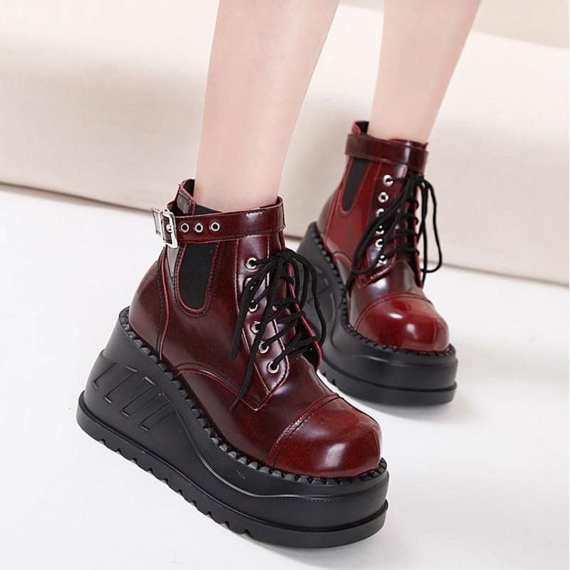 <font><b>Demoni</b></font> Gothic Shoes Fashion Street Style Heel Platform Boots Punk Martin Boots Red/Black/ White Boots Women Platform Wedge Boots