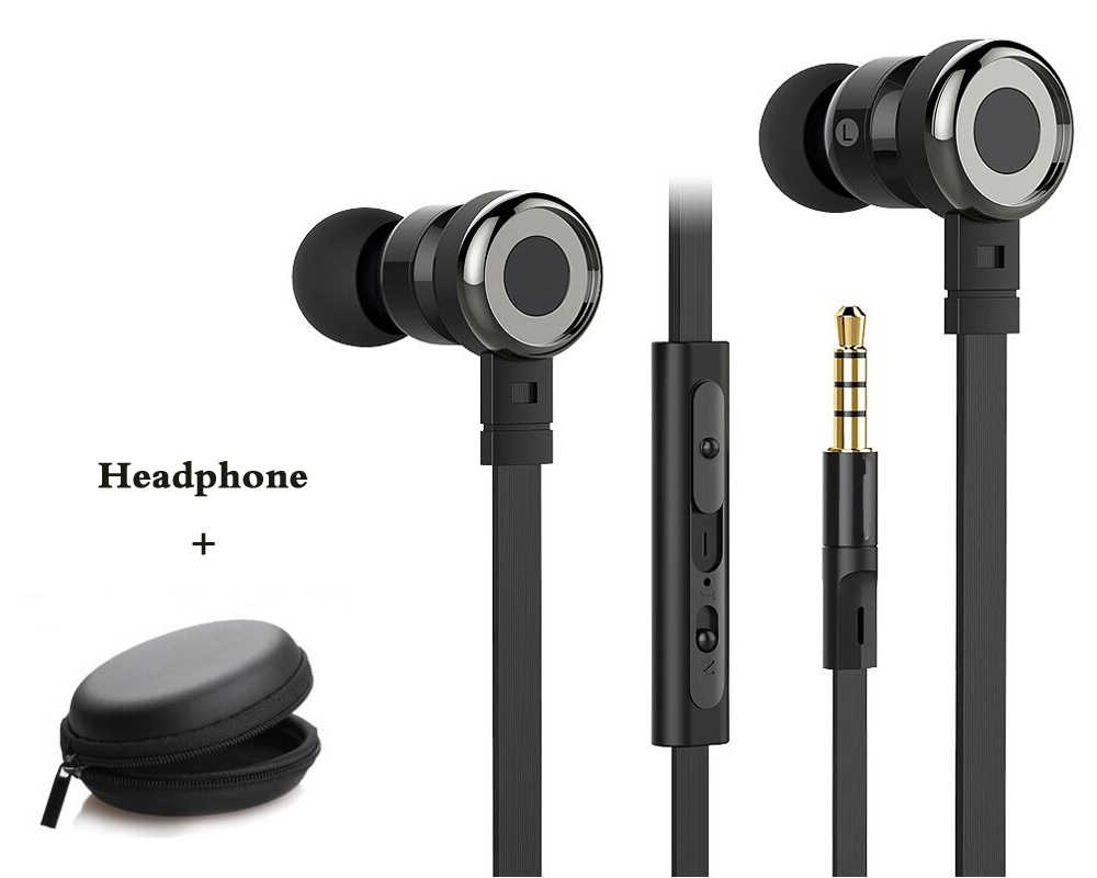 d7bd78a6b16 FQ002 flat wire earphone bass music piston headset with microphone for iPhone  xiaomi redmi note samsung