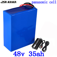 48 V 48 48 v 35ah bateria de lítio bicicleta elétrica da bateria V 34AH uso da bateria de iões de lítio panasonic celular com carregador + BMS 54.6 V 5A 50A|Bateria de bicicleta elétrica| |  -