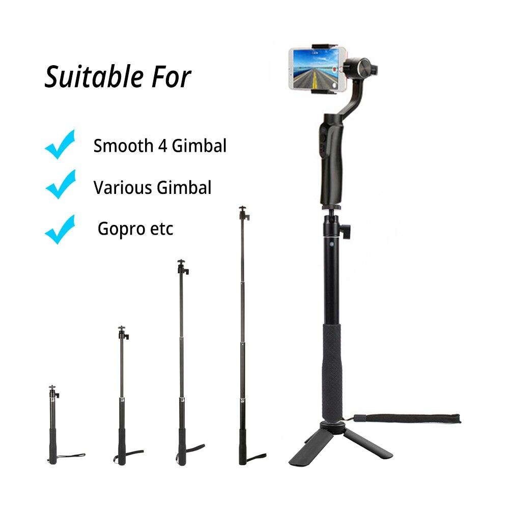 Black Extension Bar Telescopic Rod Monopod Stick for Gopro 6 YI Zhiyun Smooth Q smooth 4 Evolution DJI Osmo 2 Feiyu Vimble 2