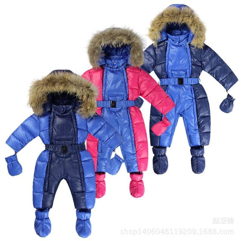 Winter Child Style Children's Thick Down Cotton Hoodies Overalls Newborn Baby Sliders Newborn Toddle Clothes 2018 Hot sale m rondeau a newborn child