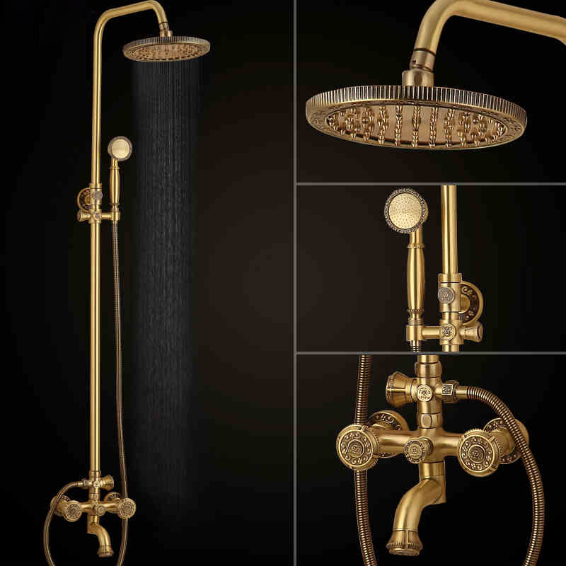Antique Brass Bath Shower Set Mixer Taps Wall Mounted Dual Handle Rotate Tub Spout Brass Hand Shower Shower Room Faucet wall mount thermostatic shower faucet mixers chrome dual handle bathroom hand held bath shower taps