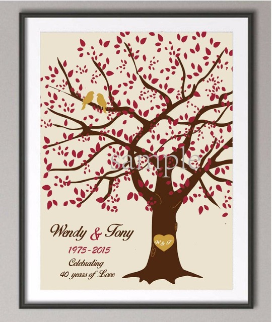 40th Wedding Anniversary Poster Canvas Painting Wall Art Prints Pictures Personalized Gifts Family Tree