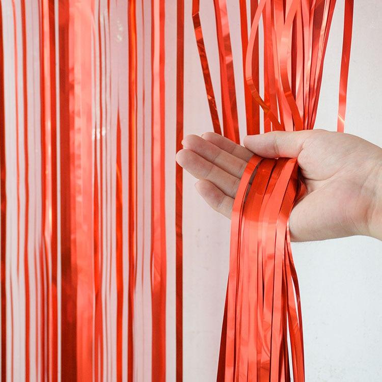 2 м девичник вечерние занавески День Рождения украшения стены Свадебные украшения день рождения украшения для взрослых - Цвет: Red