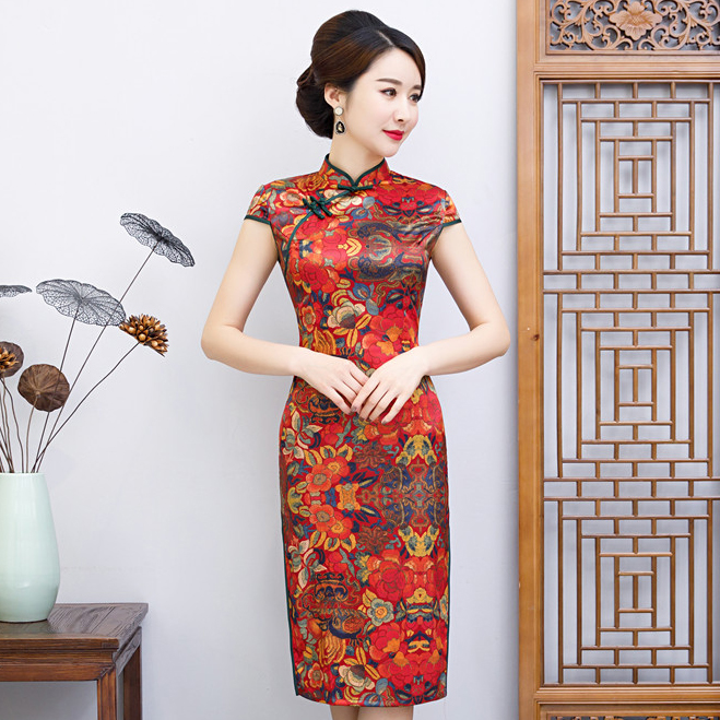 Summer Print Flower <font><b>Chinese</b></font> Elegant <font><b>Dress</b></font> <font><b>Sexy</b></font> Evening Party Cheongsam Vintage Satin Qipao Classic Mandarin Collar Vestidos image