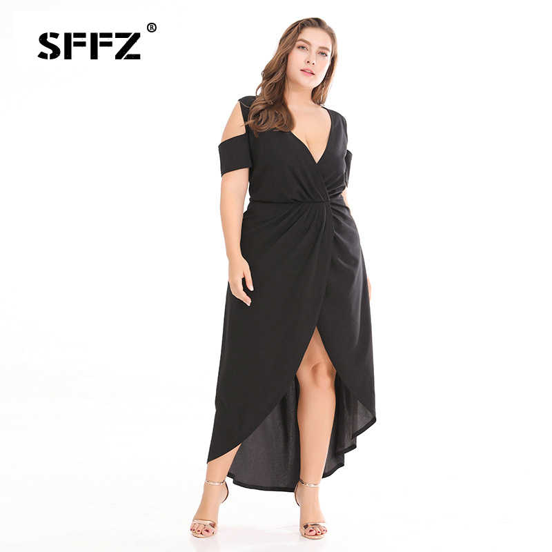 6c5ede295241 SFFZ 2018 New Summer Women s Drees Plus Size Beach Solid V-neck Short Sleeve  Strapless
