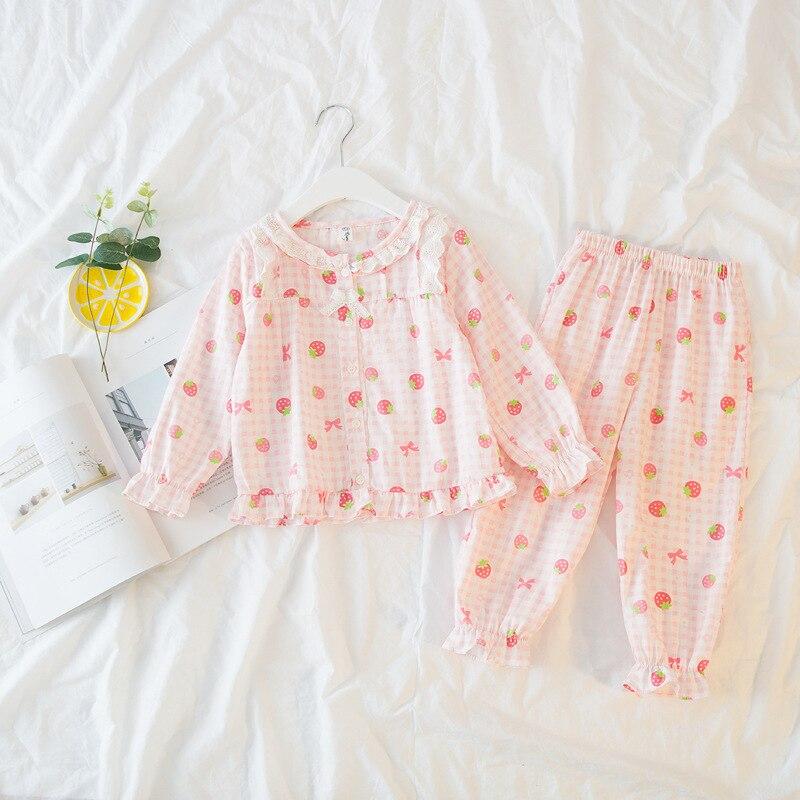 Sunshine & Wet Children Strawberry Print Pajama Units Child Lady Plaid Cotton Swimsuit Autumn Ladies Units Dwelling Clothes Lengthy Coat Pants Clothes Units, Low cost Clothes Units, Sunshine &...
