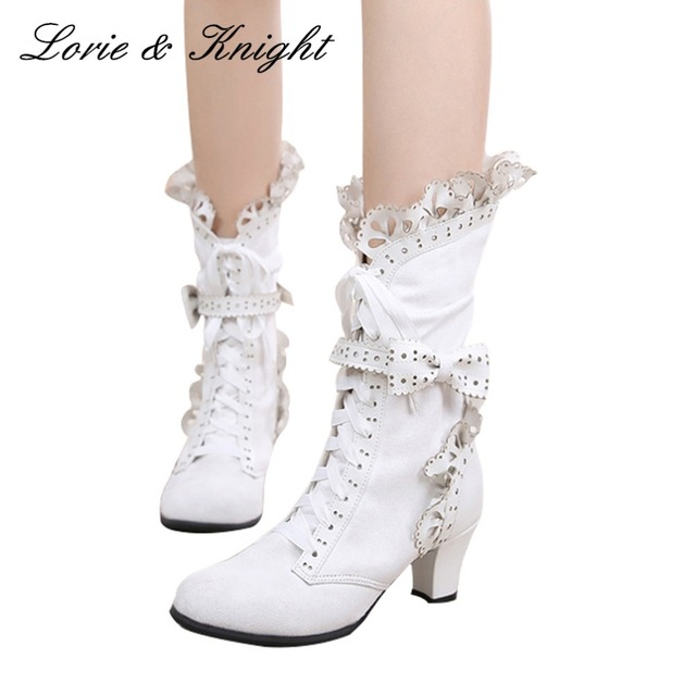 Japanese Style Sweet Ruffle Trim Lace Up Bow Princess Boots Lolita Cosplay Boots