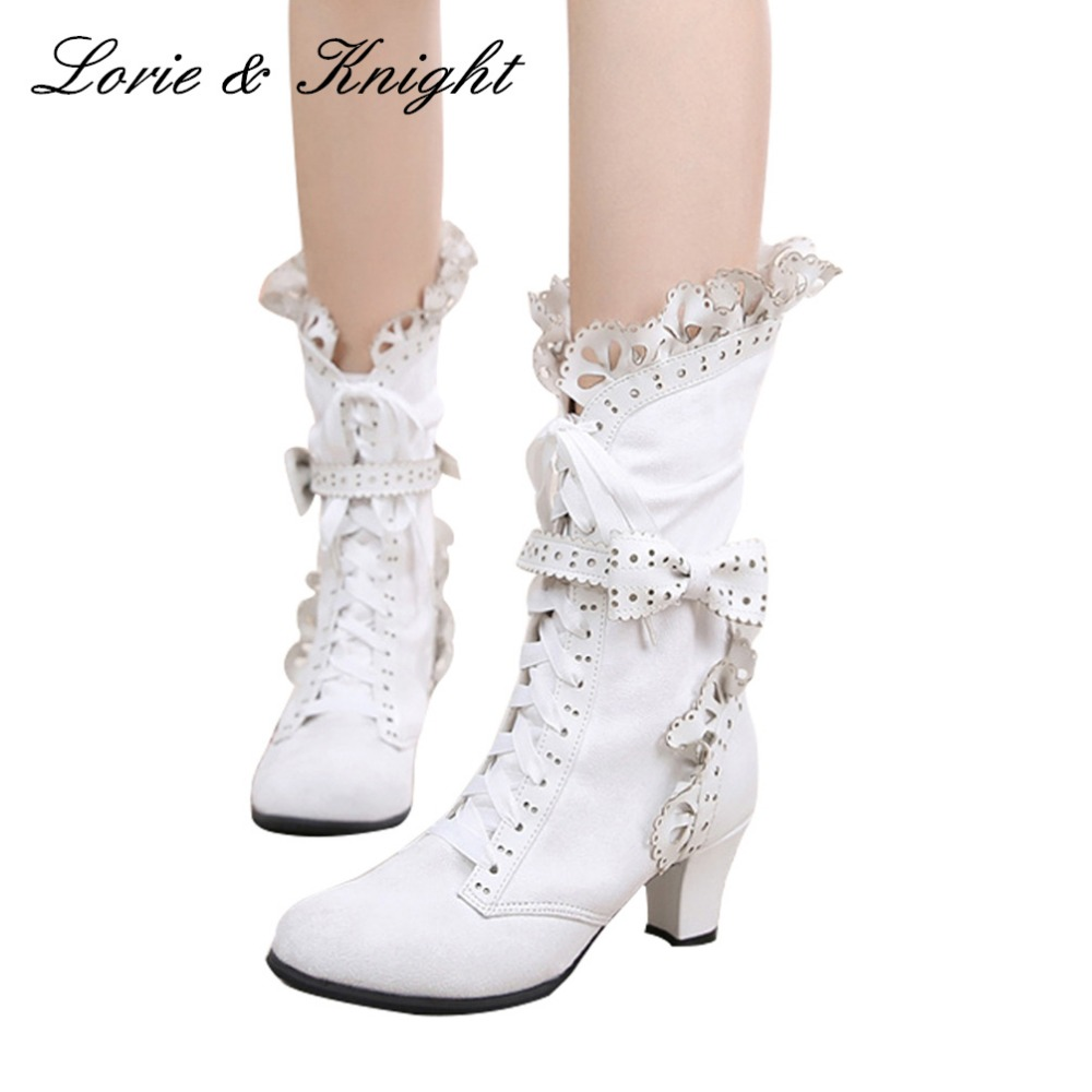 Japanese Style Sweet Faux Suede Slim Boots Ruffle Trim Lace Up Princess Lolita Cosplay Mid Calf Boots ruffle trim solid tee