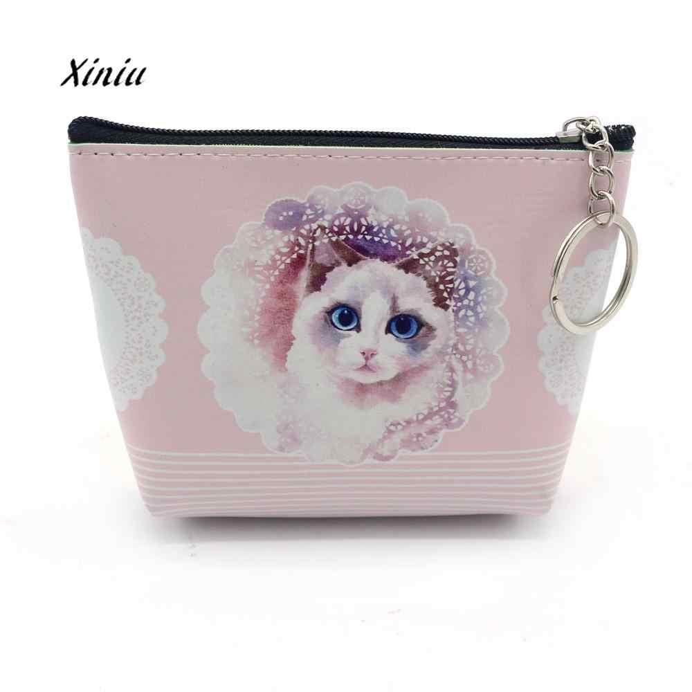Для женщин и девочек, кошелек, сумочка с отделением для монет с принтом кота, маленькая сумочка для девушек Портативный маленький кошелек, кожаный бумажник портмоне клатч держатель для карточки-ключа