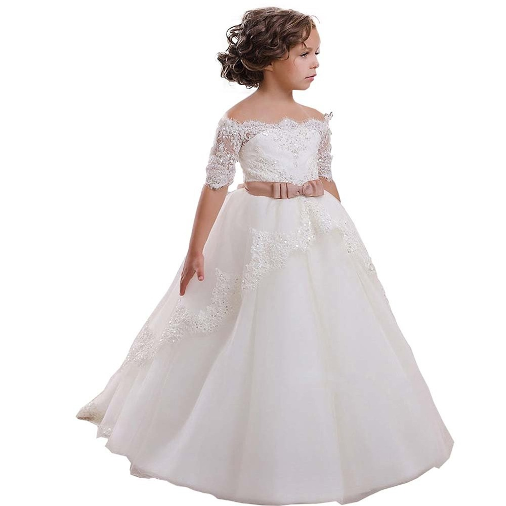 2019 Ball Gown Boat Neck White Lace Applique Half Sleeve   Flower     Girls     Dresses   Holy First Communion   Dresses   for Kids