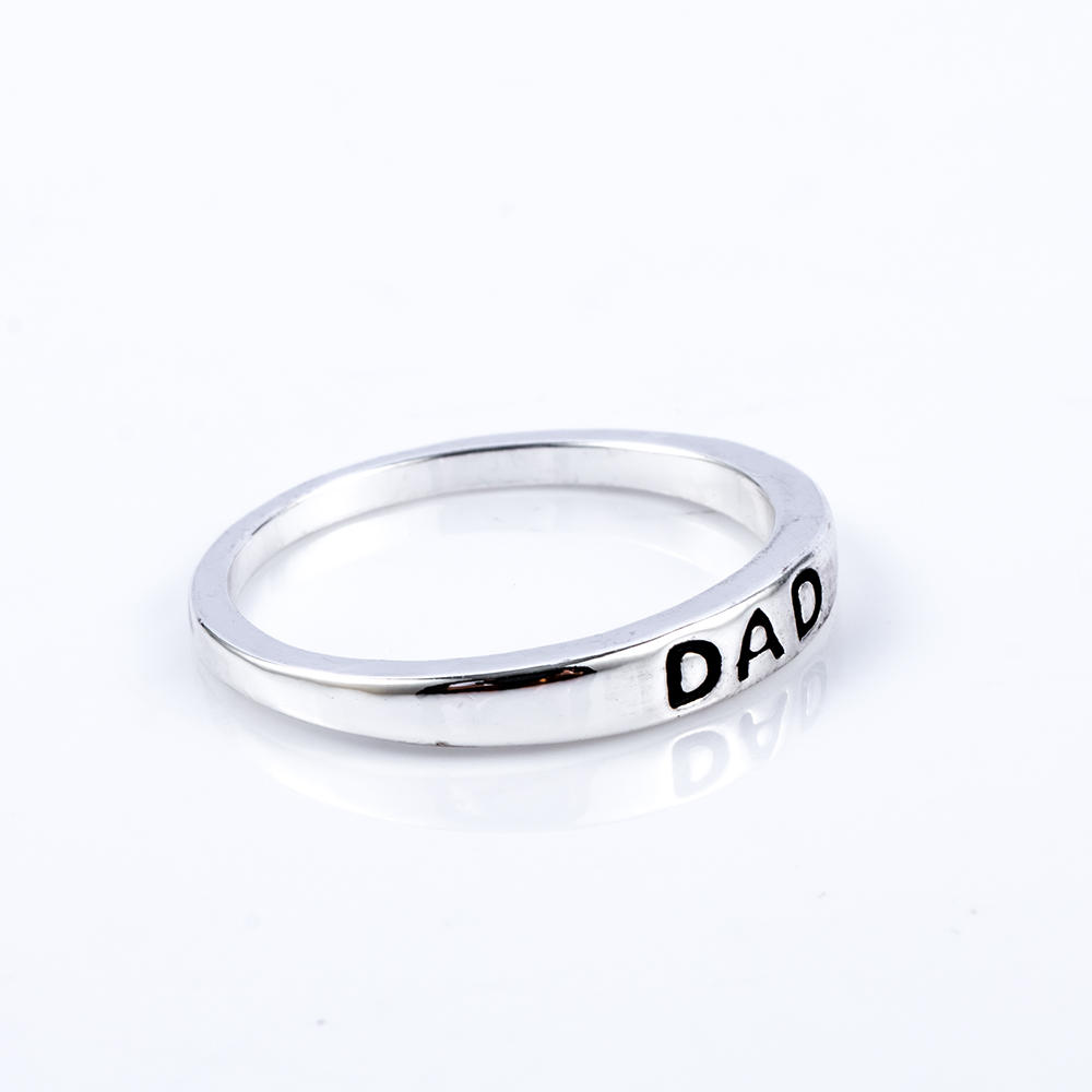 1 Pcs Fashion Men Classic Charm Engraved Minimalist Style Silver Color Dad  Letter Print Father Ring 4a05bba5b300