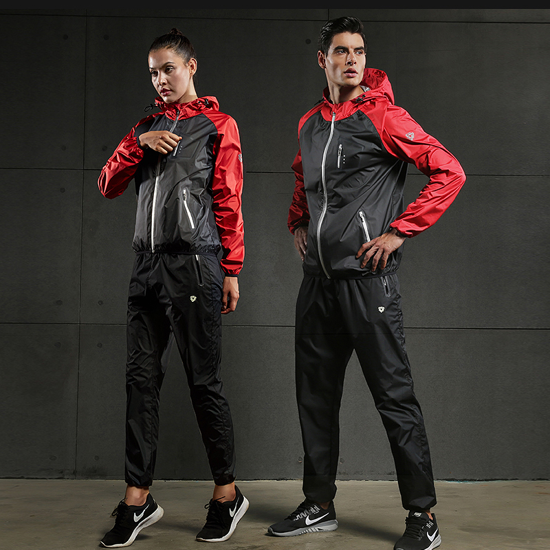 Image 4 - 2019 VANSYDICAL Sweat Suit Womens Mens Sports Running Suits Fitness Lose Weight 2pcs Gym Sportswear Fitness Track Training Suits-in Running Sets from Sports & Entertainment on AliExpress