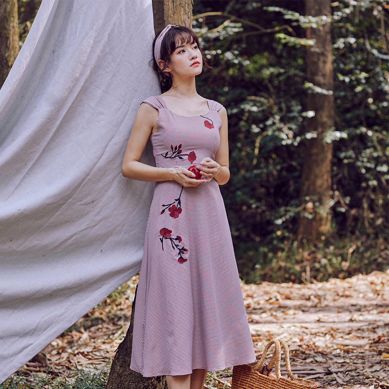 Vintage Embroidery Dress Plaid Beach Women Holiday Casual Summer Sexy Party Midi A Line Dinner Dresses