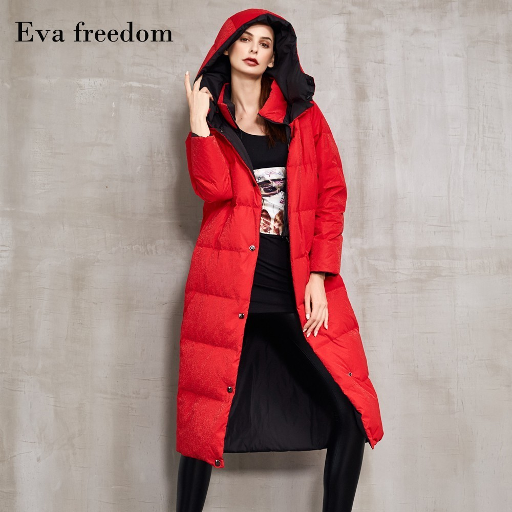 2019 Winter new long loose   down     coat   female plus size hooded contrast color double-sided wear   down   jackets winter women EF1518