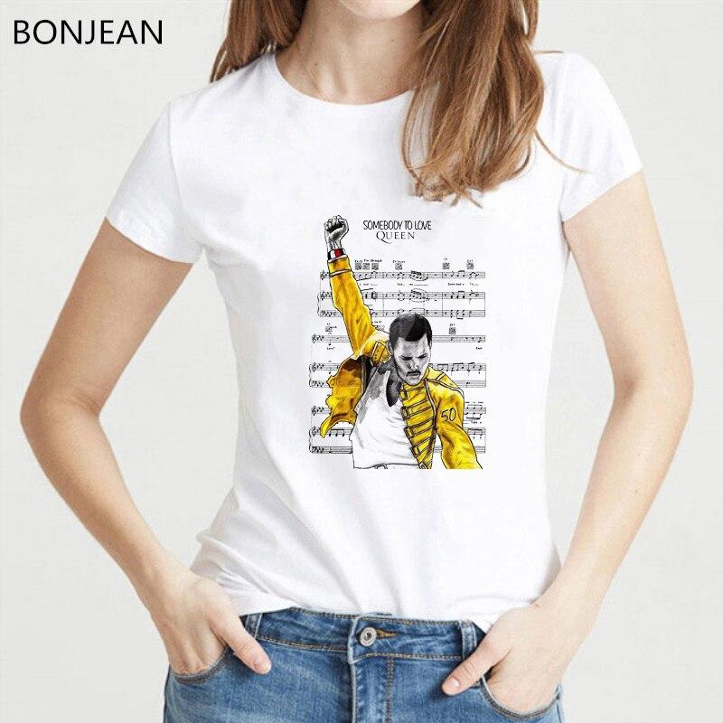Freddie Mercury T Shirt Women The Queen Band Tshirt Hip Hop Punk Top Female T-shirt Femme Harajuku Summer Shirt White Tshirt