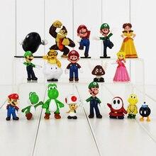 18pcs lot Super Mario Figure Toy Luigi Toad Yoshi Princess Peach Donkeykong DK Goomba Shy Guy