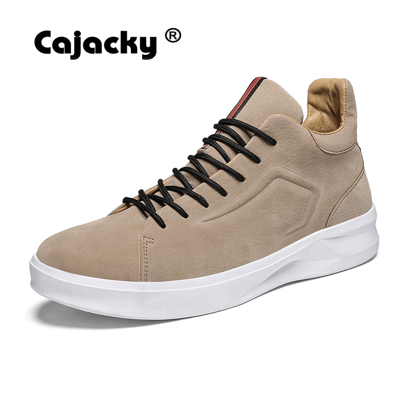 Cajacky Spring Men Casual Shoes Cow Leather Designer Flats Lace Up Leather Sneakers 39-45 Zapatos Hombre Khaki Black High Top casual dancing sneakers hip hop shoes high top casual shoes men patent leather flat shoes zapatillas deportivas hombre 61